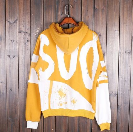 Hoodies Pullovers Street Style Bi-color Long Sleeves Cotton 14