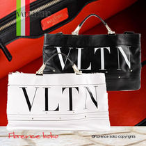 VALENTINO Casual Style Unisex Calfskin A4 2WAY Bi-color Totes