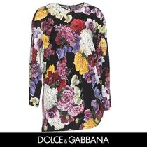 Dolce & Gabbana Crew Neck Flower Patterns Casual Style Long Sleeves