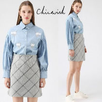 Chicwish Flower Patterns Casual Style Plain With Jewels Puff Sleeves