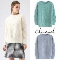 Chicwish Crew Neck Cable Knit Casual Style Long Sleeves Plain