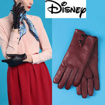 Disney Collaboration Plain Leather Leather & Faux Leather Gloves