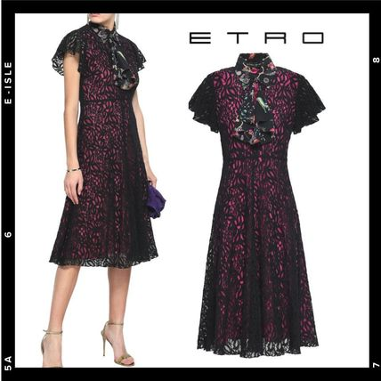 Flower Patterns Flared Medium Lace Elegant Style Dresses