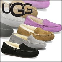 UGG Australia ANSLEY Moccasin Rubber Sole Casual Style Suede Plain Flats