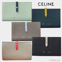 CELINE Unisex Calfskin Bi-color Plain Long Wallets
