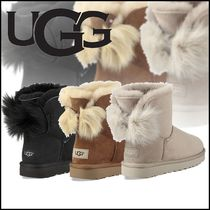 UGG Australia MINI BAILEY BOW Rubber Sole Suede Plain Elegant Style Ankle & Booties Boots