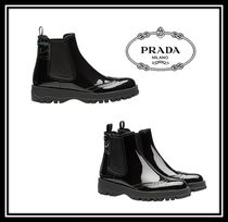 PRADA Rubber Sole Casual Style Plain Leather Chelsea Boots