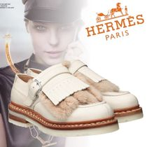 HERMES Platform Round Toe Plain Leather Fringes
