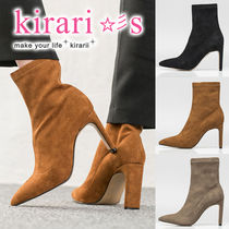 Casual Style Suede Plain Block Heels Ankle & Booties Boots