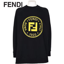 FENDI Crew Neck Long Sleeves Plain Cotton Hoodies & Sweatshirts