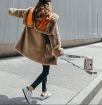Faux Fur Bi-color Plain Long Oversized Cashmere & Fur Coats