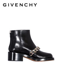 GIVENCHY Casual Style Chain Plain Leather Mid Heel Boots