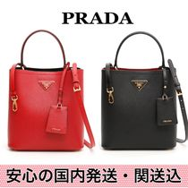 PRADA DOUBLE Saffiano 2WAY Bi-color Plain Totes