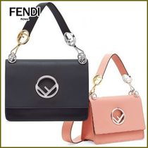 FENDI KAN I Street Style 2WAY Chain Plain Leather Elegant Style