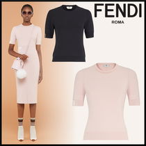 FENDI Crew Neck Short Rib Short Sleeves Logos on the Sleeves