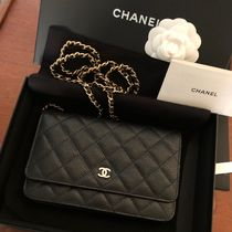 CHANEL CHAIN WALLET 2WAY Plain Leather Shoulder Bags