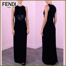 FENDI Crew Neck Heart A-line Sleeveless Long With Jewels