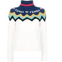 FENDI Cable Knit Short Casual Style Cashmere Long Sleeves