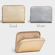 CELINE Zipped Plain Leather Coin Purses