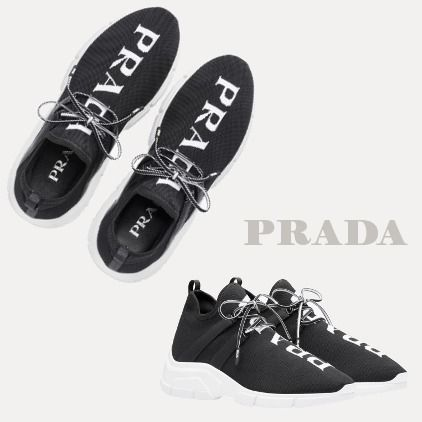 PRADA Low-Top Round Toe Rubber Sole Lace-up Casual Style Plain