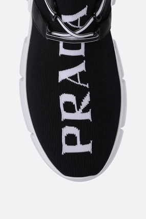 PRADA Low-Top Round Toe Rubber Sole Lace-up Casual Style Plain 5