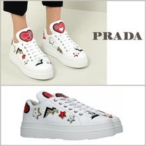 PRADA Heart Star Round Toe Lace-up Casual Style Studded Leather