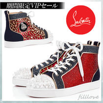 Christian Louboutin Studded Street Style Plain Leather With Jewels Sneakers