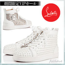 Christian Louboutin Studded Street Style Plain Leather Handmade Sneakers