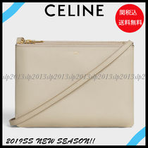 CELINE Trio Bag Unisex Blended Fabrics 2WAY 3WAY Plain Leather Elegant Style
