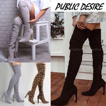 PUBLIC DESIRE Square Toe Casual Style Suede Plain Over-the-Knee Boots