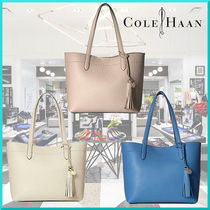 Cole Haan Tassel Plain Leather Office Style Totes
