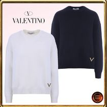 VALENTINO Crew Neck Short Casual Style Wool Long Sleeves Plain Cropped