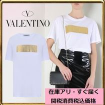 VALENTINO Crew Neck Short Plain Cotton Short Sleeves Cropped