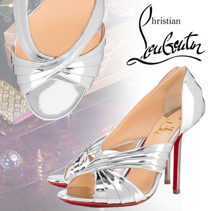 aa4146bcee11 ... Christian Louboutin Heeled Open Toe Blended Fabrics Plain Leather Pin  Heels Party Style ...