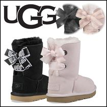 UGG Australia MINI BAILEY BOW Rubber Sole Casual Style Sheepskin Plain