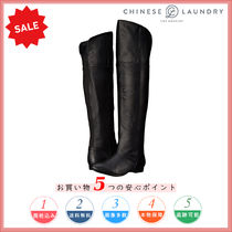CHINESE LAUNDRY Round Toe Plain Leather Elegant Style Over-the-Knee Boots