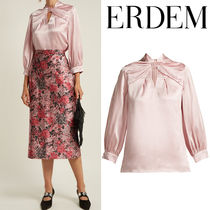 ERDEM Silk Cropped Plain Medium Elegant Style Shirts & Blouses
