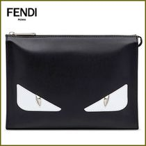 FENDI Unisex Street Style Leather With Jewels Clutches