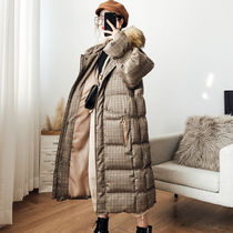 Gingham Other Check Patterns Faux Fur Long Oversized