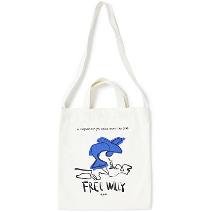 Casual Style Unisex Canvas Street Style A4 Plain Totes