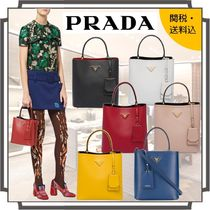 PRADA DOUBLE Blended Fabrics 2WAY Bi-color Plain Leather Elegant Style