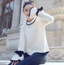 Cable Knit Casual Style Wool Bi-color Plain Medium High-Neck