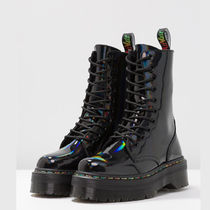 Dr Martens Platform Round Toe Lace-up Casual Style Enamel Lace-up Boots