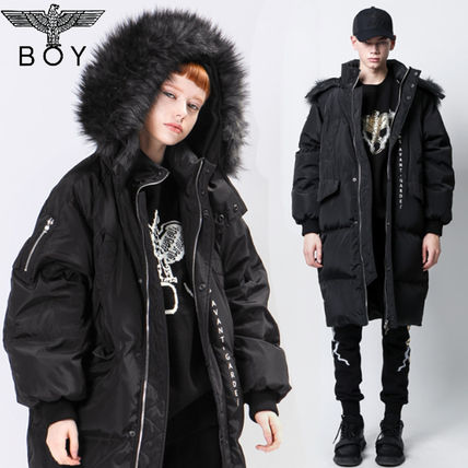 Unisex Street Style Collaboration Plain Long Down Jackets
