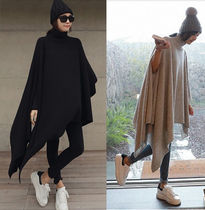 Casual Style Wool Dolman Sleeves Plain Long Oversized