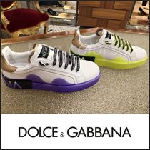 Dolce & Gabbana Round Toe Rubber Sole Casual Style Blended Fabrics