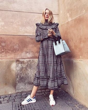1f06c5ef87a ... Ganni Dresses Gingham Casual Style Maxi Street Style Long Sleeves Long  ...