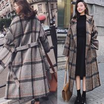 Other Check Patterns Wool Long Elegant Style Coats