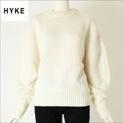 Crew Neck Cable Knit Short Casual Style Wool Long Sleeves