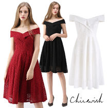 Chicwish Flower Patterns Flared V-Neck Plain Medium Party Style Lace